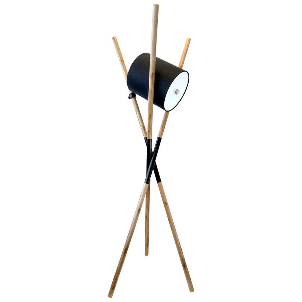 URBAN FLOOR LAMP Designer Tripod Lamp / Natural Solid Timber Legs & Black Drum Shade