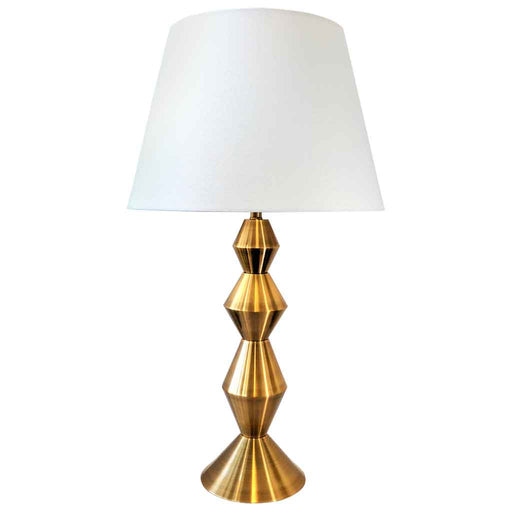 ZULU TABLE LAMP Sleek Designer Art Deco Bronze Metal Base / White Linen Shade
