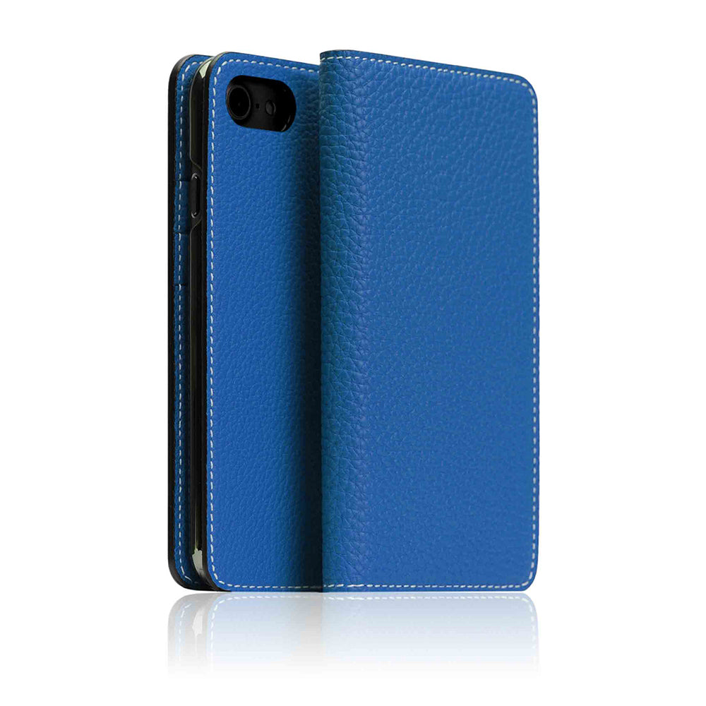 outlet store 648a5 1833d German Shrunken Calf Leather Diary Case for iPhone 8 / 7 Blue