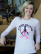 Ladies Pink Thermal Long sleeve