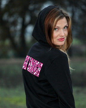 Ladies Black Zip Up Hoodie