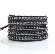 Hematite Beads on Cowhide Leather 5 Wrap (4056)