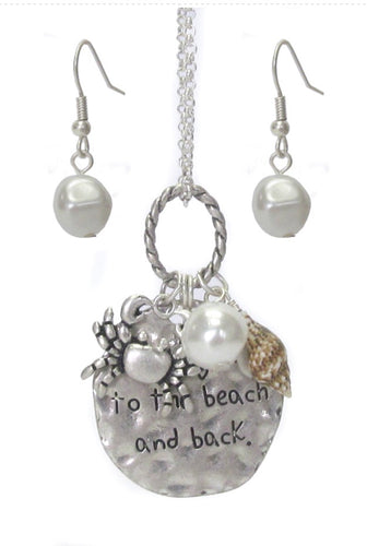 SEALIFE THEME NECKLACE SET - CRAB- I love you to the beach and back