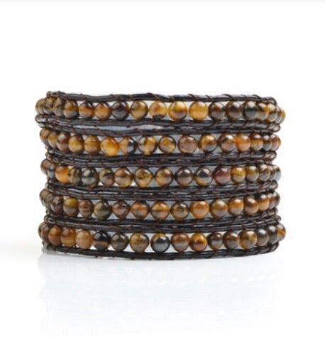 Tiger Eye Beads 5 Wrap Bracelet Cowhide Leather (4057)