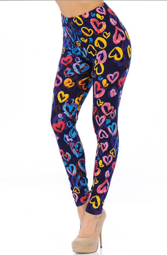 Buttery Soft Colorful Watercolor Hearts Leggings