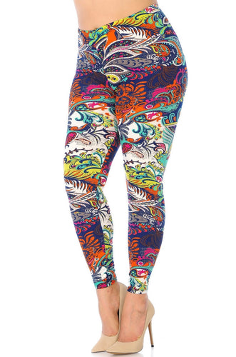 Buttery Soft Tropical Paisley Plus Size Leggings