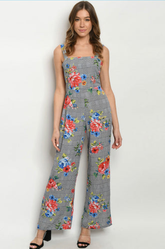 NAVY CHECKERED FLORAL JUMPSUIT