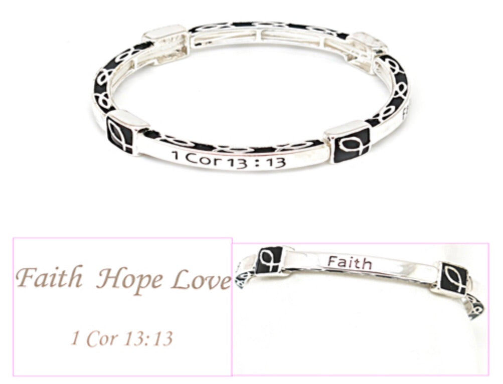 FASHION STRETCH BRACELET - FAITH HOPE LOVE