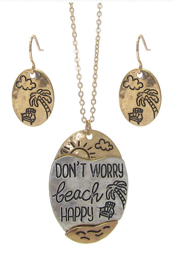 SEALIFE THEME NECKLACE SET - DON'T WORRY BEACH HAPPY