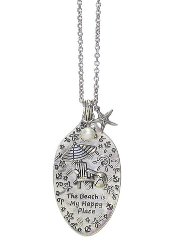 SEALIFE SPOON PENDANT - THE BEACH IS MY HAPPY PLACE