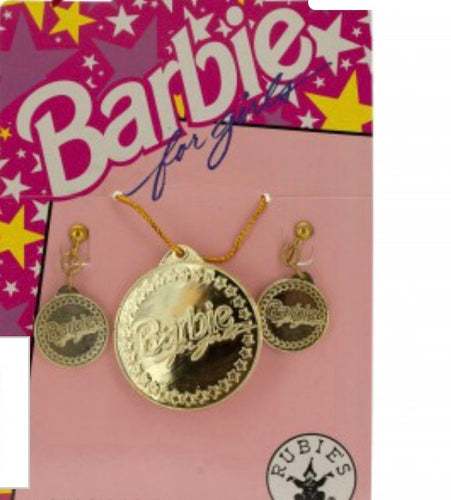 Barbie for Girls Gold Earrings & Necklace Set - Silver