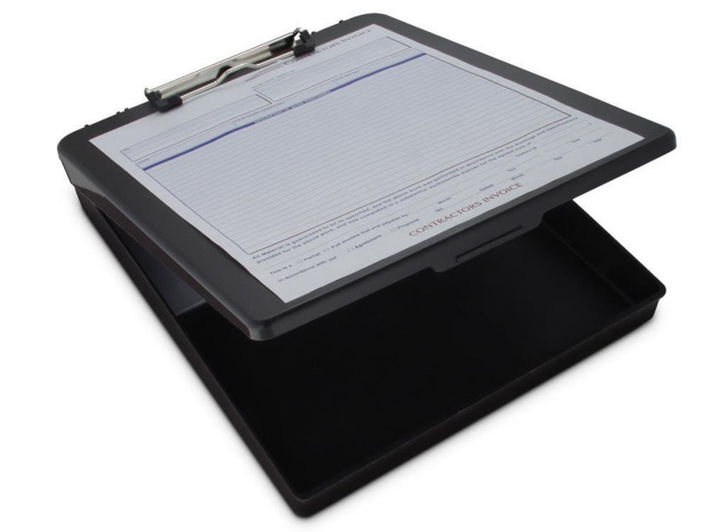 00468 Deskmate; Black Polypropylene Form Holder Clipboard; Bottom Opening; A4 Saunders - prospectors.com.au