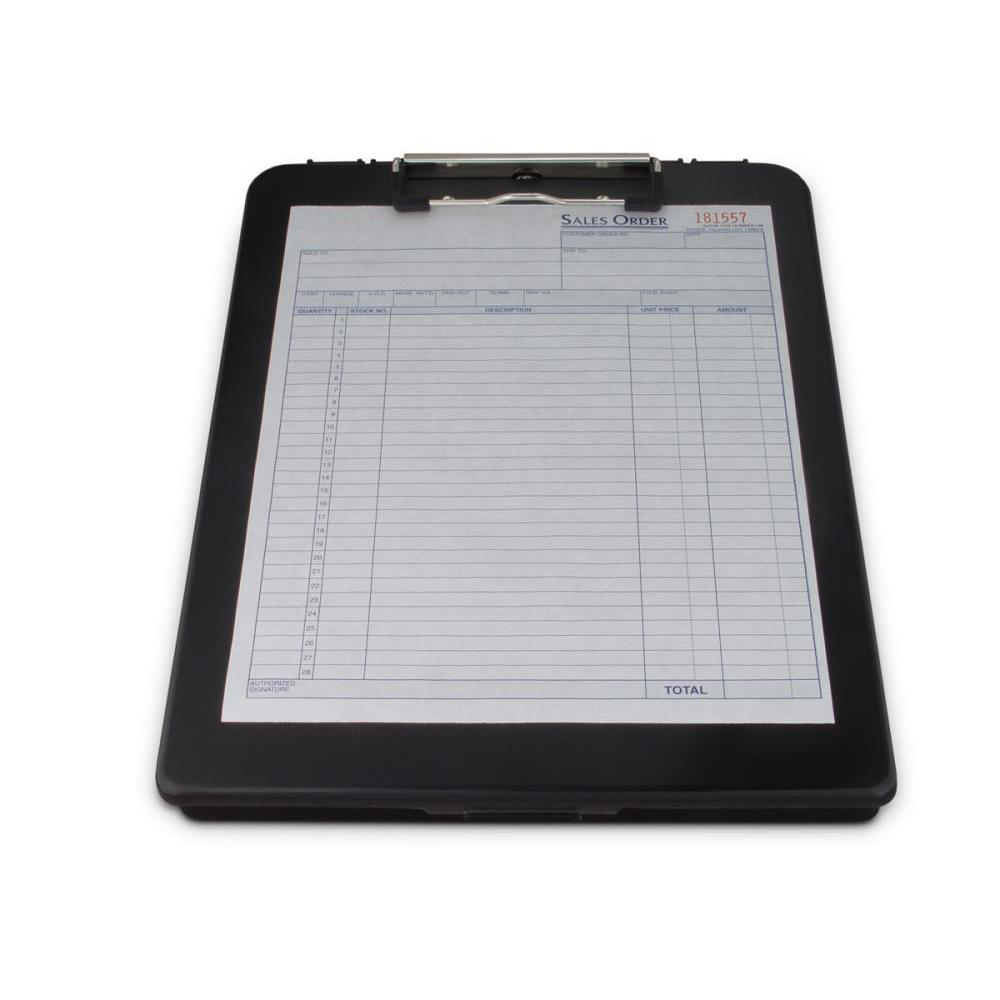 00468 Deskmate; Black Polypropylene Form Holder Clipboard; Bottom Opening; A4 Saunders