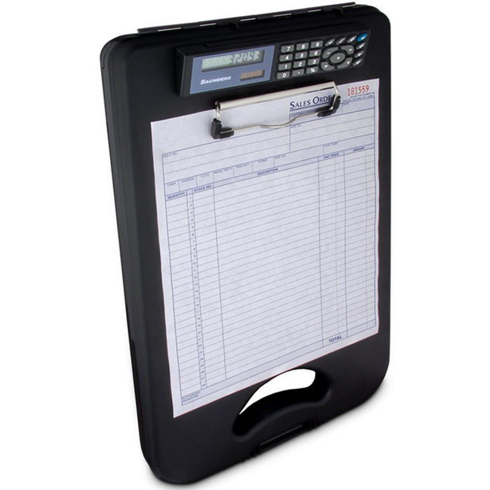 00534 DeskMate II; Black Polypropylene Form Holder Clipboard with Calculator; Bottom Opening; A4 Saunders