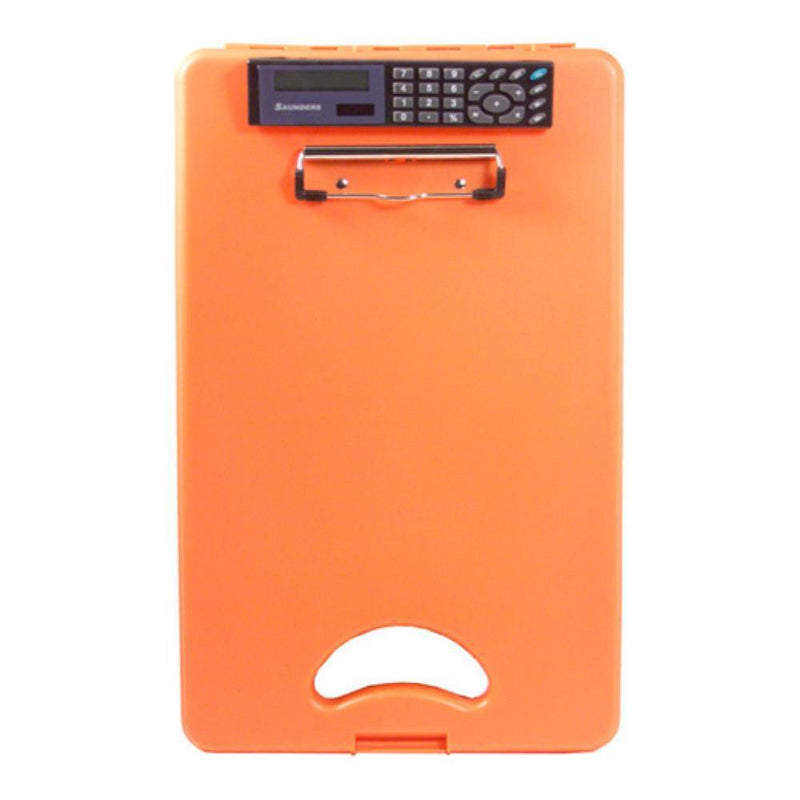 00543 DeskMate II; Tangerine Polypropylene Form Holder Clipboard with Calculator; Bottom Opening; A4 Saunders - prospectors.com.au