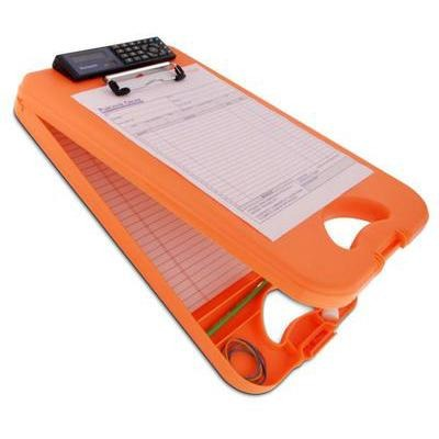00543 DeskMate II; Tangerine Polypropylene Form Holder Clipboard with Calculator; Bottom Opening; A4 Saunders