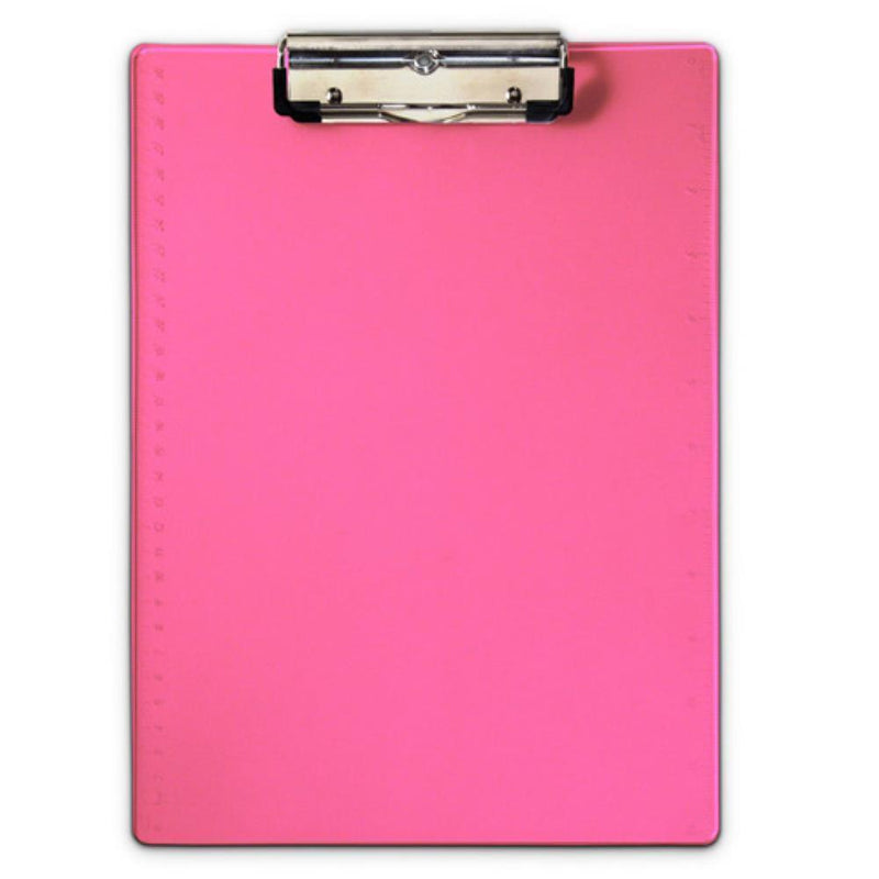 21594 Neon Pink Form Holder Clipboard; Low Profile Clip; A4 Saunders - prospectors.com.au