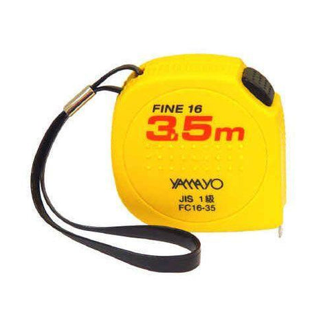 3.5 metre X 16mm Yamayo Fine 16 Convex Free Return Steel Pocket Measuring Tape with Acrylic Resin-Normal-Prospectors