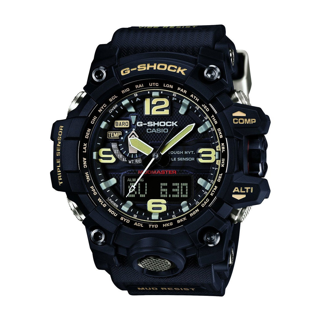 Casio G Shock MUDMASTER Watch GWG1000 series watch- Triple Sensors Barometer,ALT, Digital Compass Vibration resistant, Black LCD, Black Resin