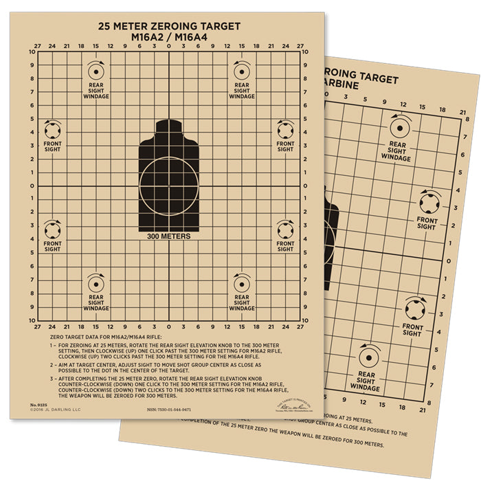 Rite in the Rain All Weather 9125 Zeroing Target 25 metre 216 X 279mm
