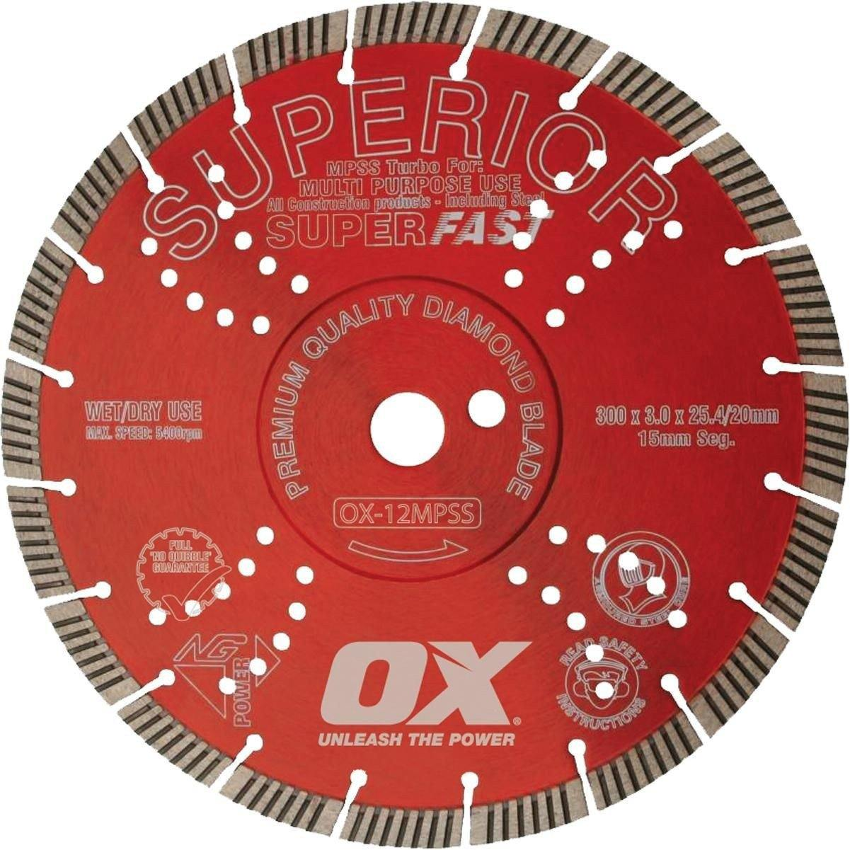 Ox 350mm MPSS Superior Superfast Segmented Turbo Diamond Blade-Normal-Prospectors