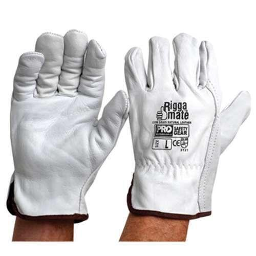ProChoice Riggamate Cow Grain Natural Riggers Leather Gloves Grey