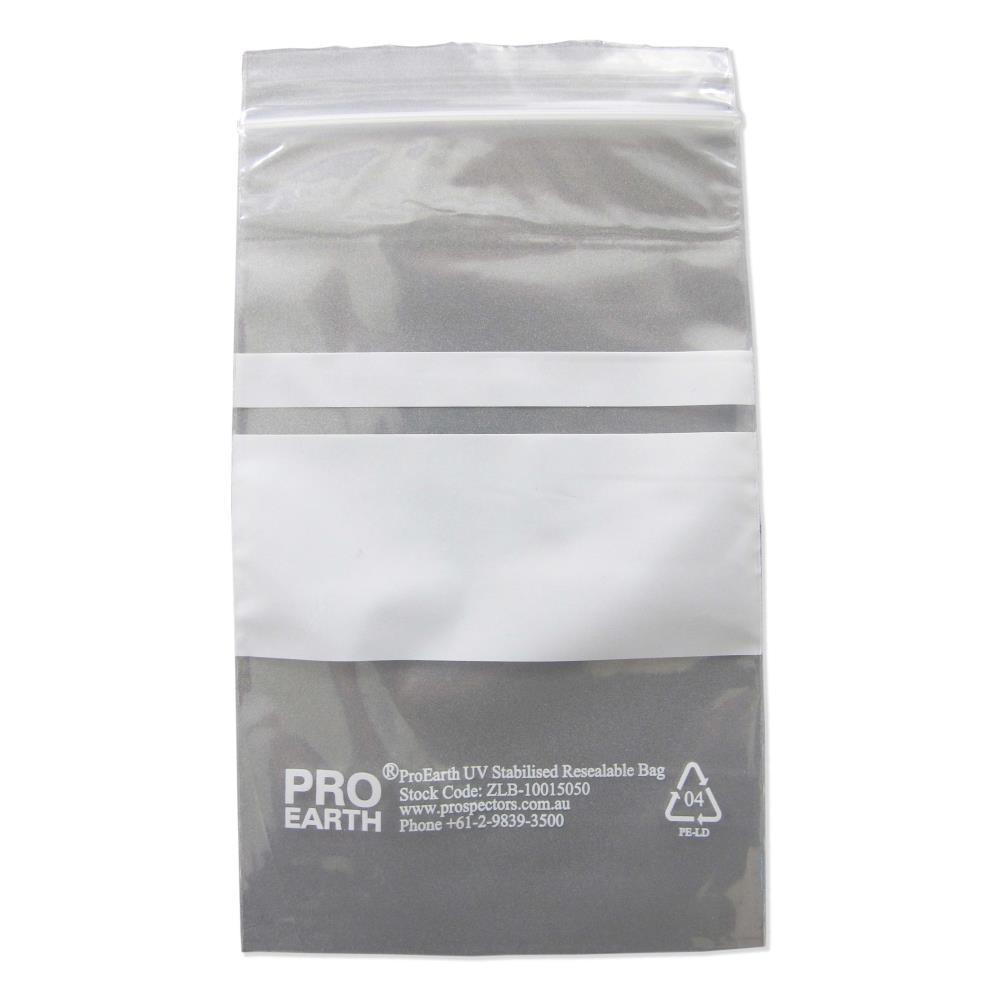 ProEarth UV Stabilised Zip Lock Plastic Bags with Patch 100 X 150mm X 50um 100 Bags-Normal-Prospectors