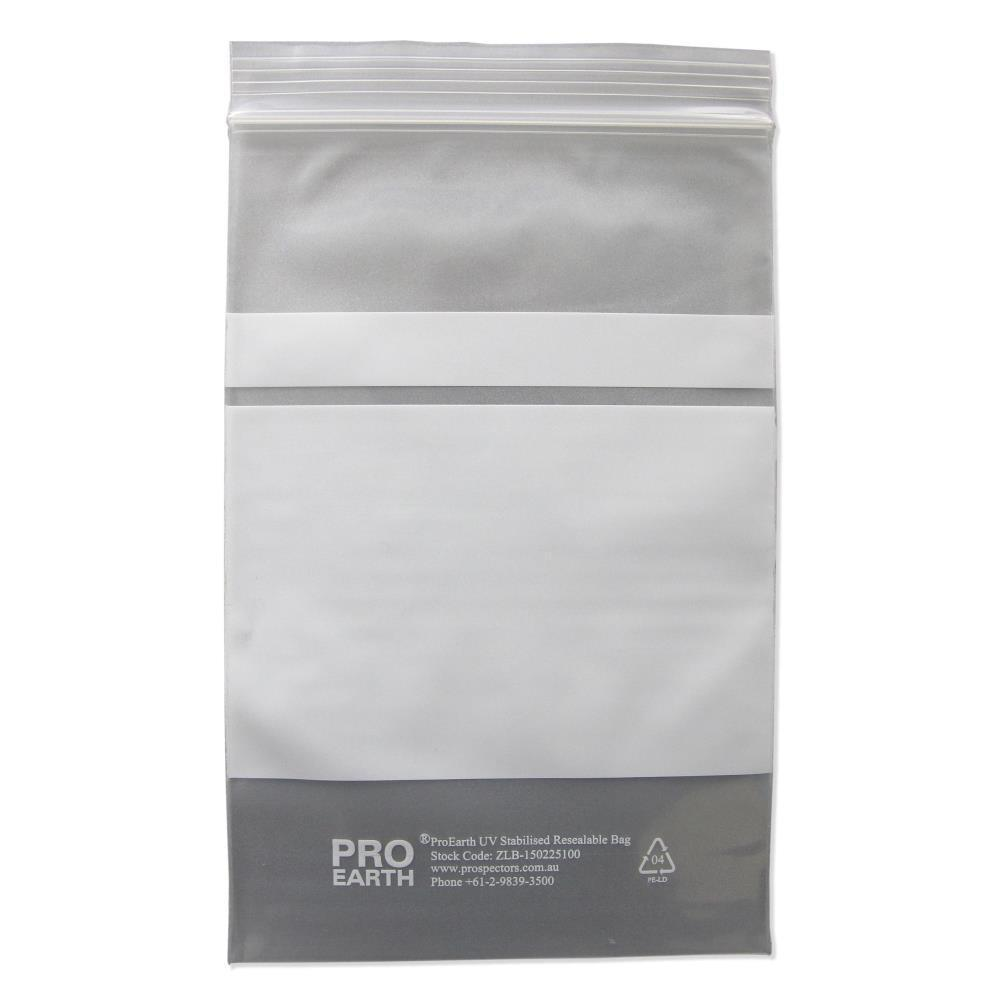 ProEarth UV Stabilised Zip Lock Plastic Bags with Patch 150 X 225mm X 100um 100 Bags-Normal-Prospectors