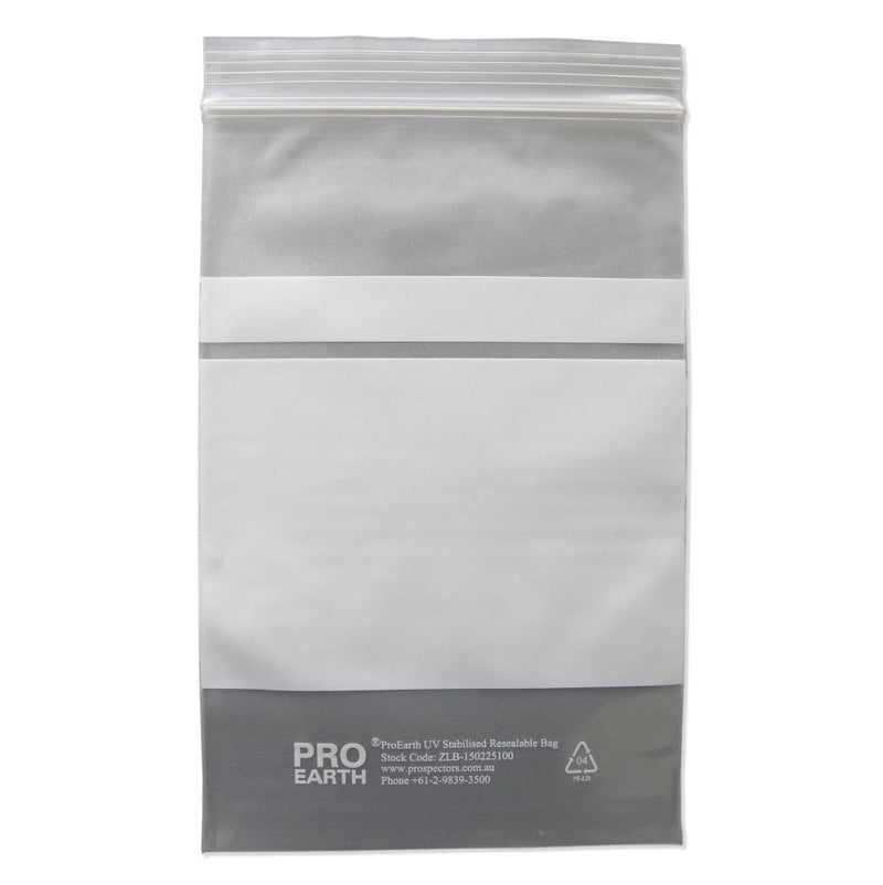 ProEarth UV Stabilised Zip Lock Plastic Bags with Patch 150 X 225mm X 100um 100 Bags - prospectors.com.au