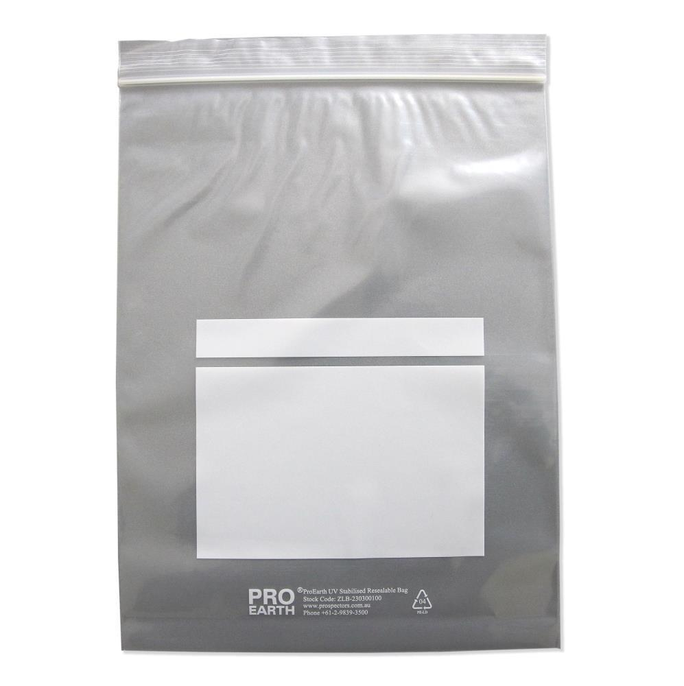 ProEarth UV Stabilised Zip Lock Plastic Bags with Patch 230 X 300mm X 100um 100 Bags-Normal-Prospectors