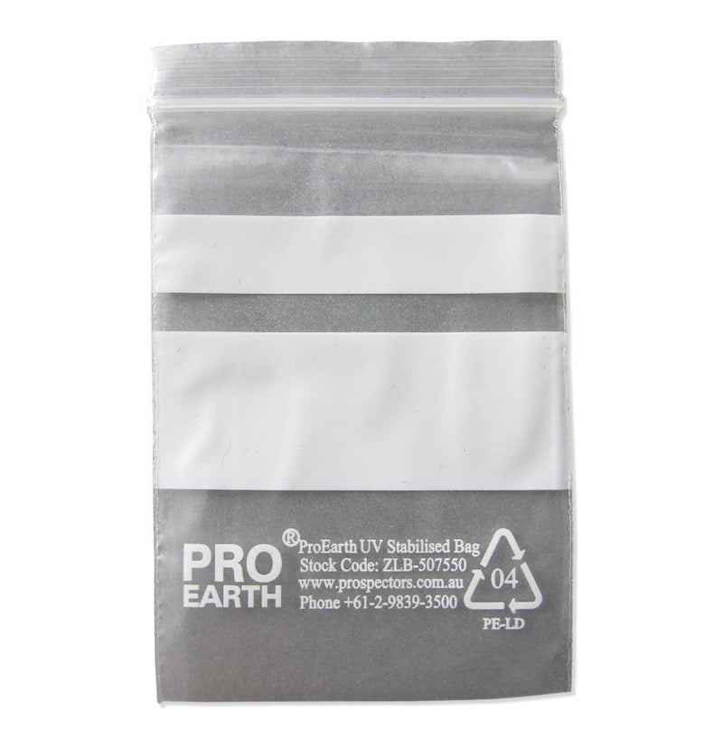 ProEarth UV Stabilised Zip Lock Plastic Bags with Patch 50 X 75mm X 50um 100 Bags - prospectors.com.au