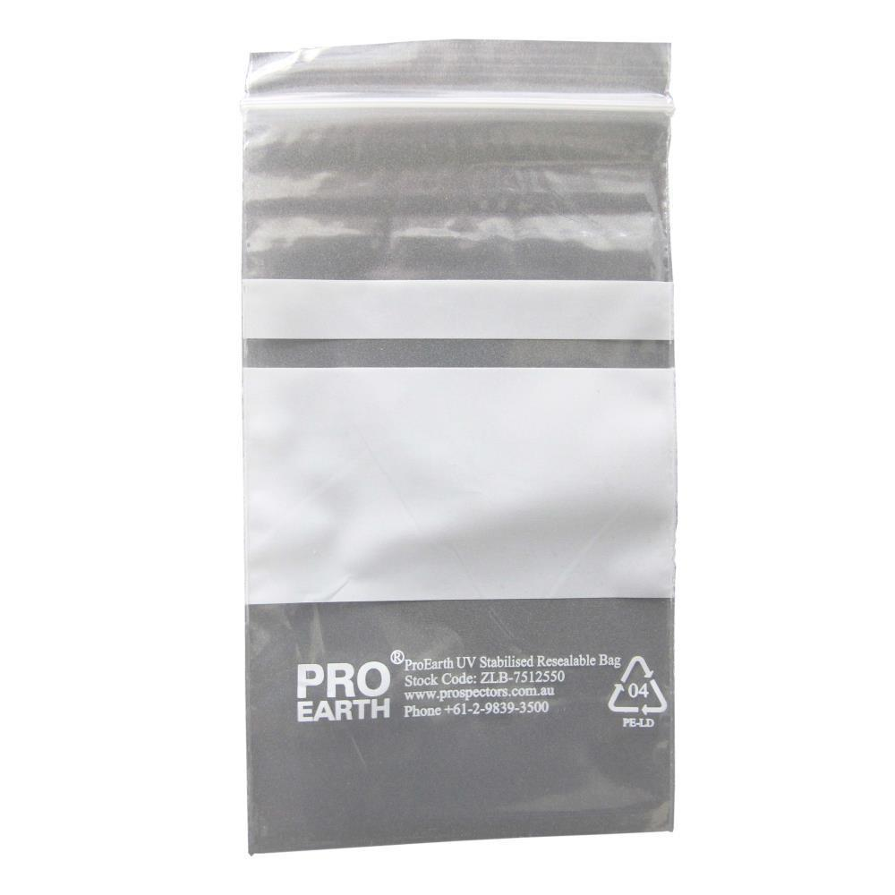 ProEarth UV Stabilised Zip Lock Plastic Bags with Patch 75 X 125mm X 50um 100 Bags-Normal-Prospectors