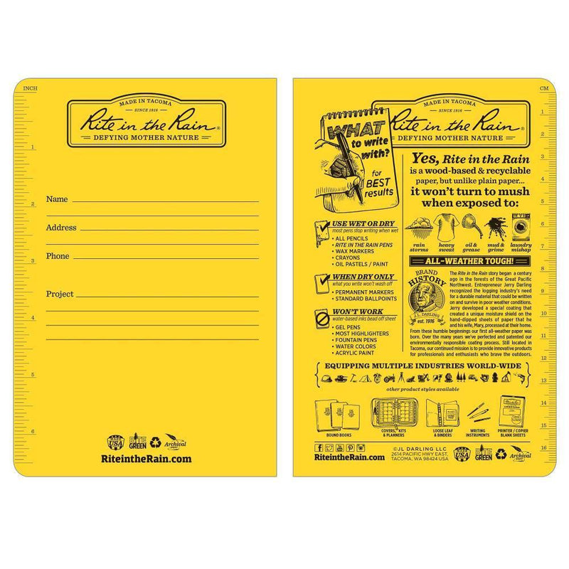 Rite in the Rain 311FX, All Weather Level Rite in the Rain Tagboard Notebook, 117mm x 177mm, pack of 3 books-Normal-Prospectors