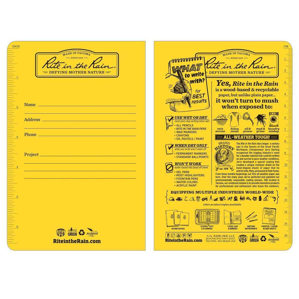 Rite in the Rain 391FX, All Weather Journal Rite in the Rain field flex Notebook, 117mm x 177mm, pack of 3 books