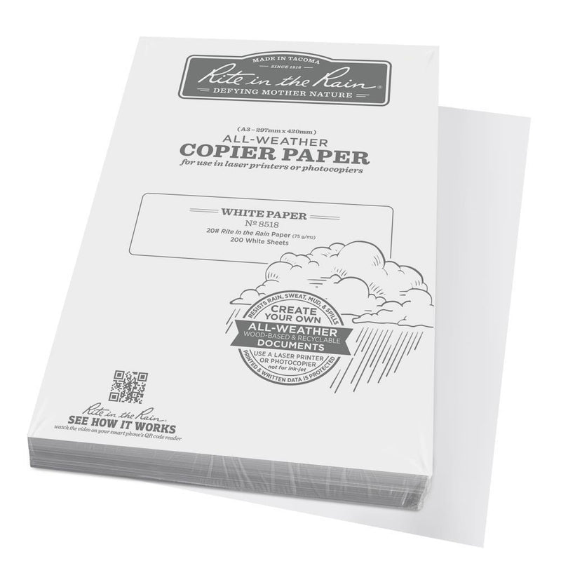 Rite in the Rain 8518, A3, All Weather Copier Paper, 200 Sheets, 297mm x 420mm-Normal-Prospectors