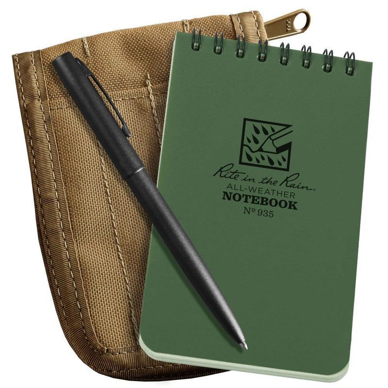 Rite in the Rain 935-KIT, All Weather Green Universal 76mm x 127mm in Kit, Tan Cordura Fabric Cover, Black All Weather Pen-Normal-Prospectors