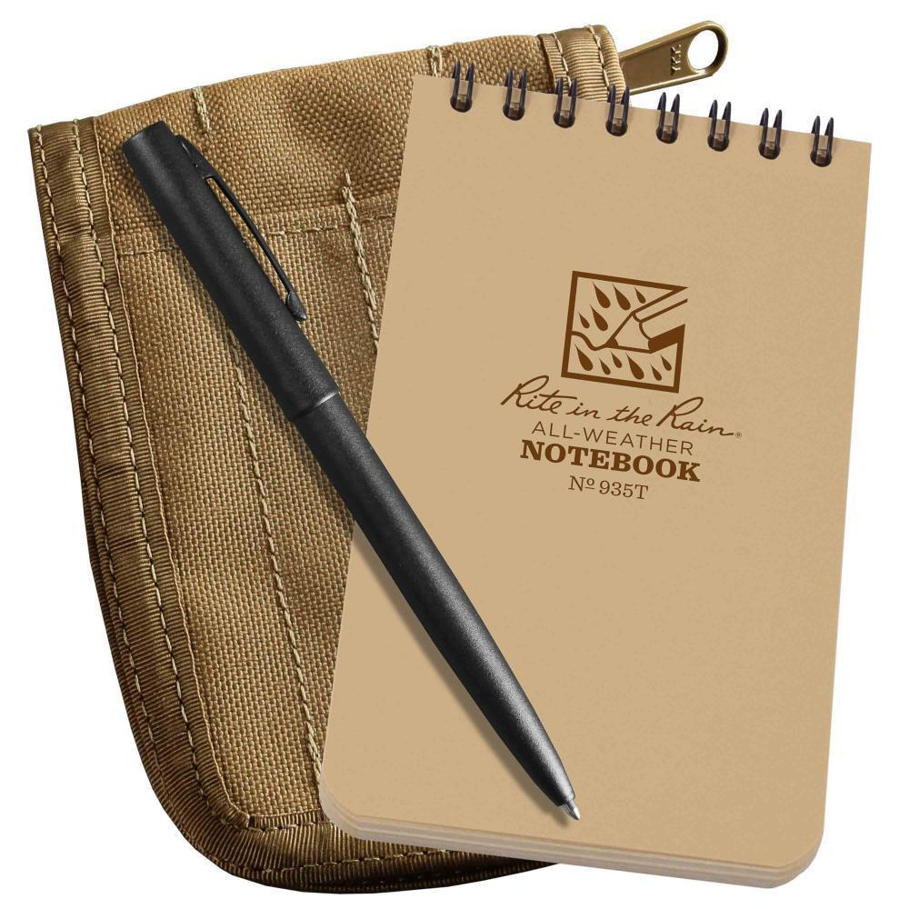 Rite in the Rain 935T-KIT, All Weather Universal 76mm x 127mm Kit, Tan Cordura Fabric Cover, Black All Weather Pen