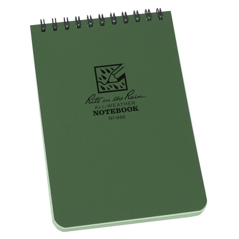 Rite in the Rain 946, All Weather Green Universal Polydura Notebook, 102mm x 152mm-Normal-Prospectors