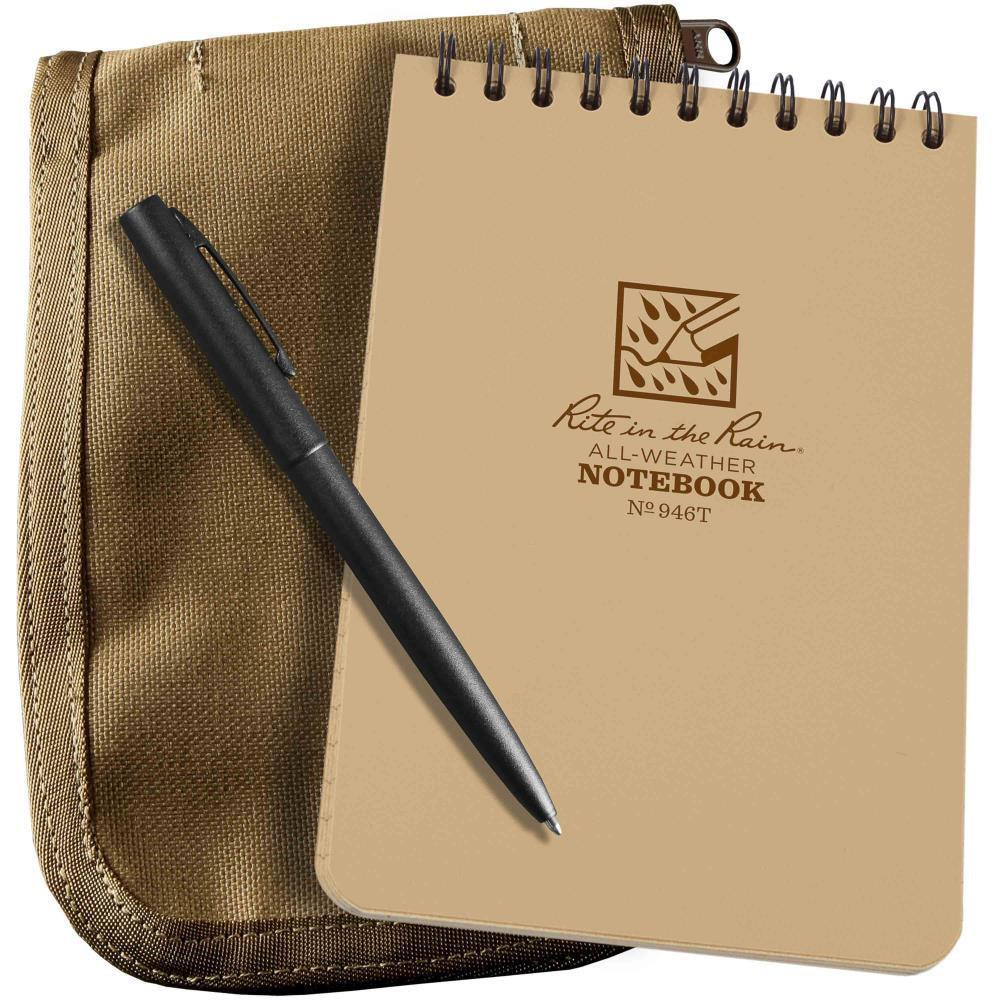 Rite in the Rain 946T-KIT, All Weather Universal 102mm x 152mm Kit, Tan Cordura Fabric Cover, Black All Weather Pen-Normal-Prospectors