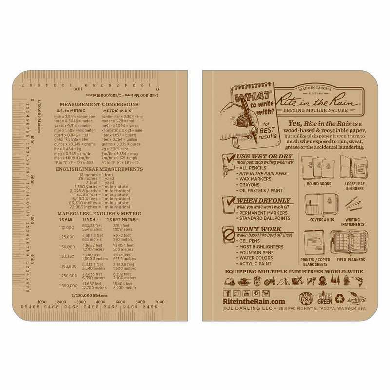 Rite in the Rain 954T, All Weather Tan Universal Field-Flex Memo Book, 89mm x 127mm-Normal-Prospectors