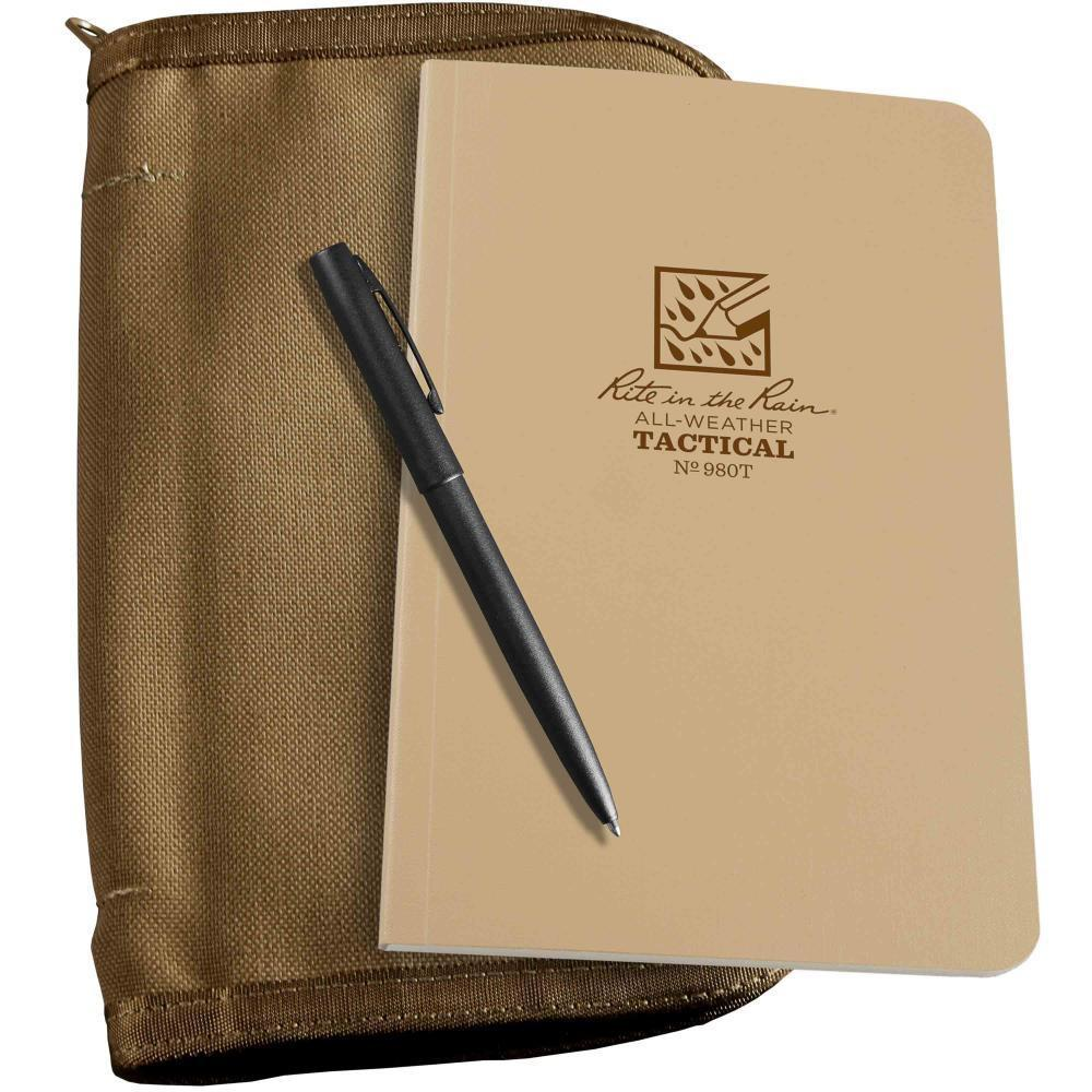 Rite in the Rain 980T-KIT, All Weather Desert Tan Universal 117mm x 184mm Field Book in Kit, Tan Cordura Fabric Cover, Black All Weather Pen-Normal-Prospectors
