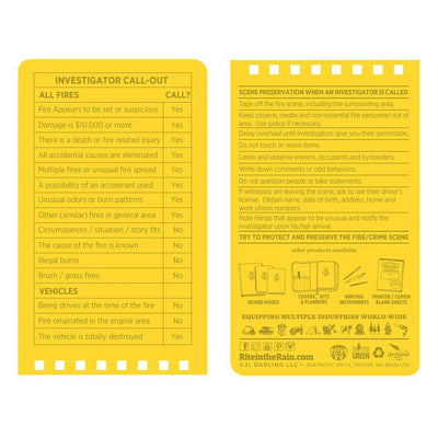 Rite in the Rain 125, All Weather Fire Incident Report Polydura Notebook, 76mm x 127mm