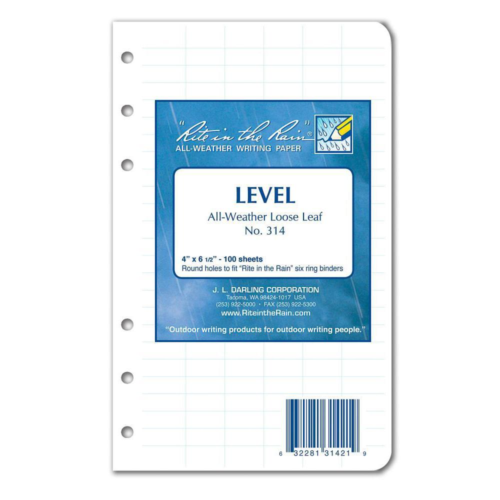 Rite in the Rain 314, All Weather Level Loose Leaf Sheets, 102mm x 165mm