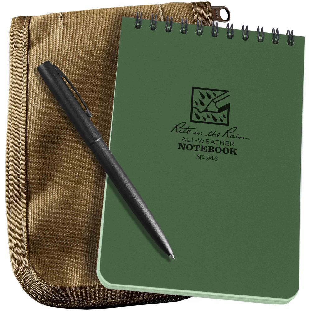 Rite in the Rain All Weather 946-Kit Green Pocket Notebook Black Pen Tan Cordura Cover 102 x 152mm