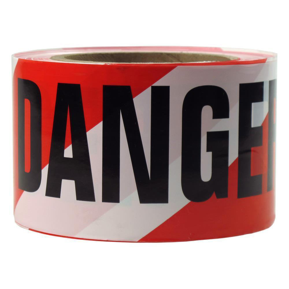 White and Red Stripe Danger Presco Barricade Tape 75mm Wide; 91m Long
