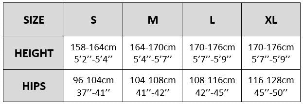 knittex tights and pantyhose size chart