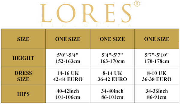 Lores one size hosiery chart
