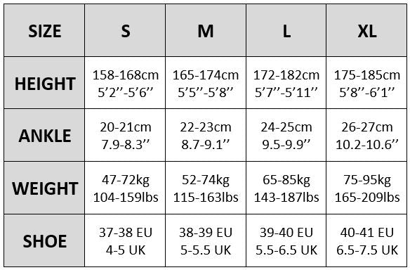 Golden Lady compression tights size chart
