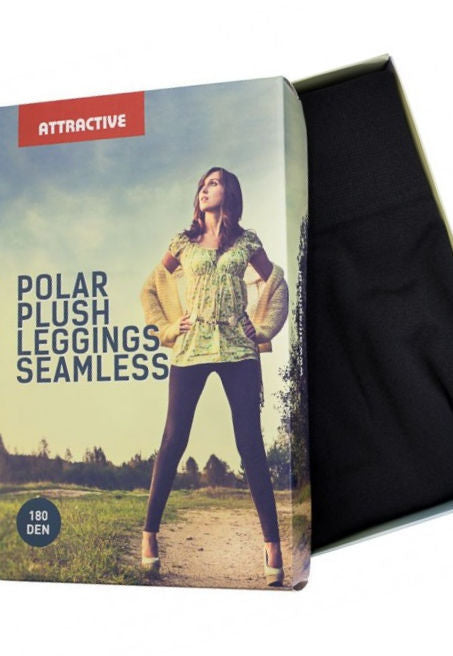 Seamless 180 Den Fleece Opaque Leggings by Attractive in black