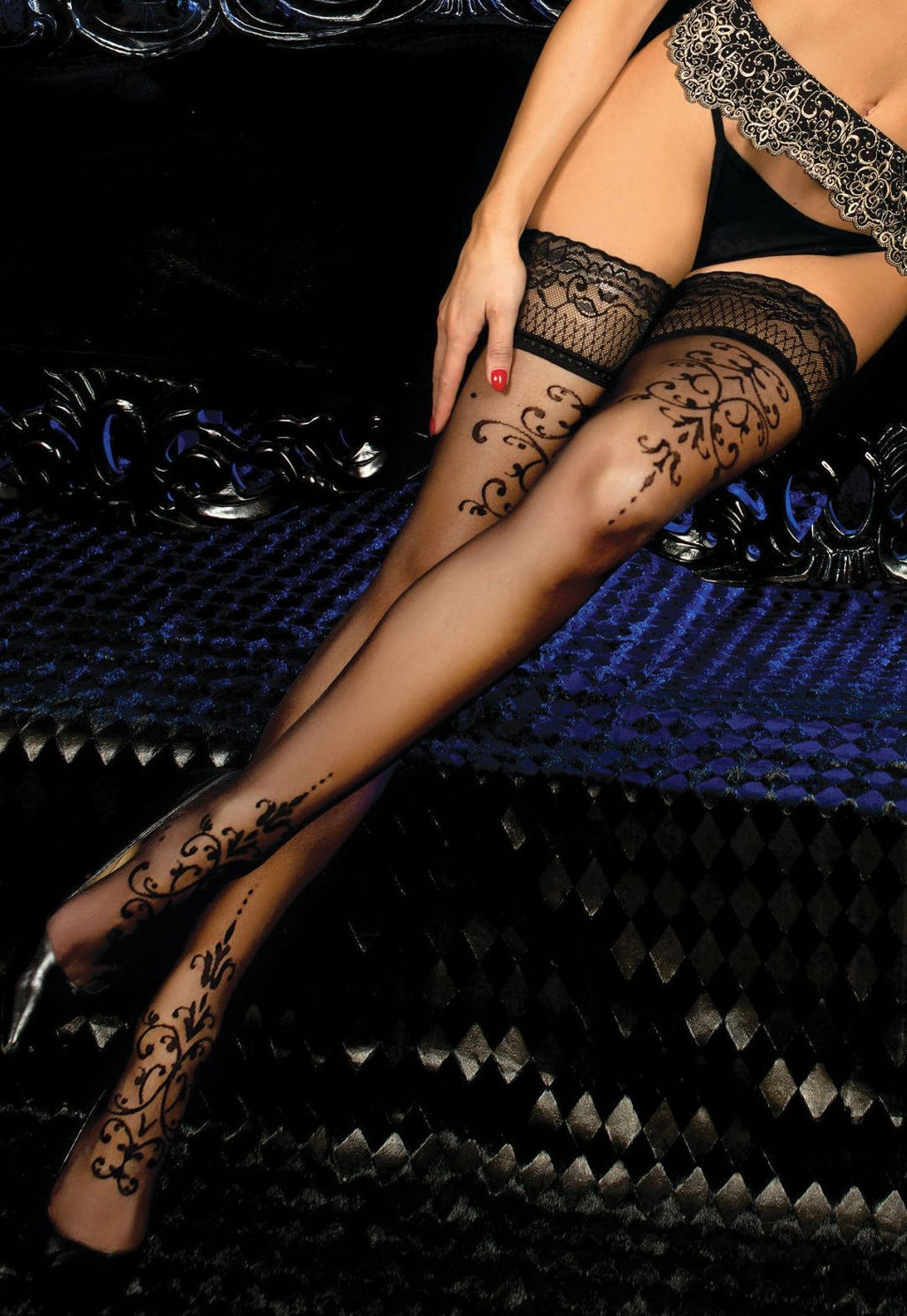Ballerina 447 Sheer Hold-Ups with Double Baroque Design